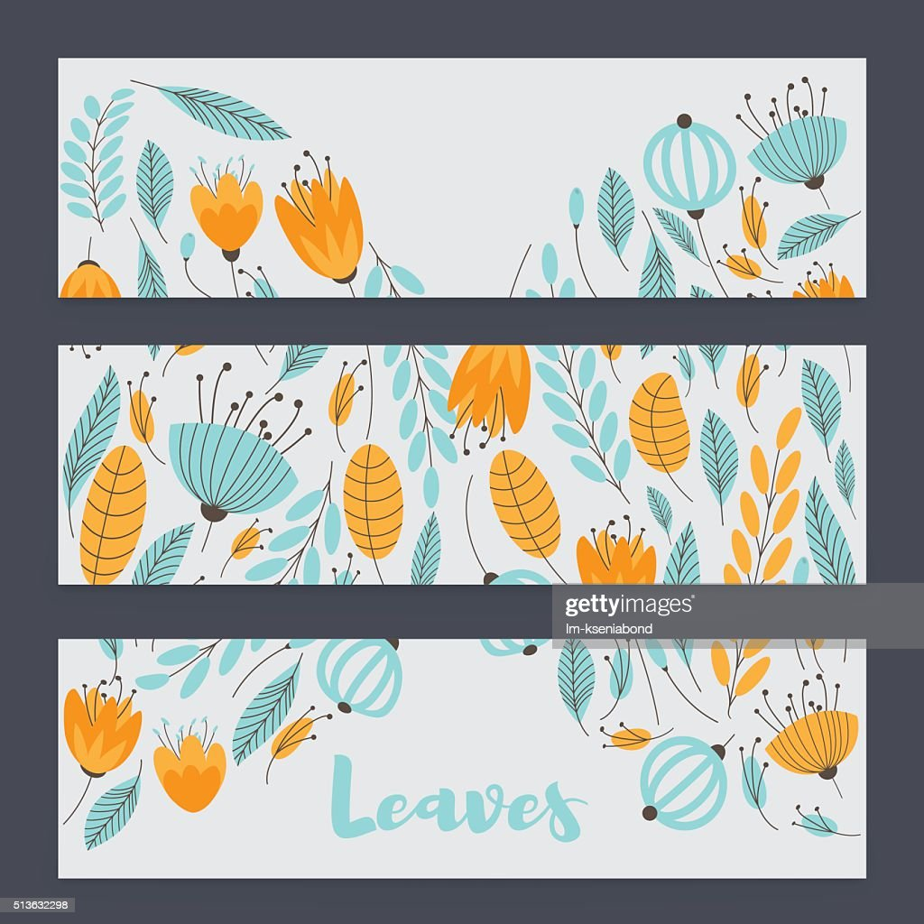 Three cute banner with floral semicircles