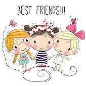 Three Cute cartoon girls
