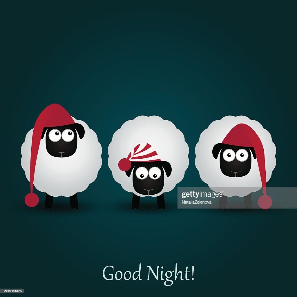 Three cute cartoon sheeps in funny hats. Good night.