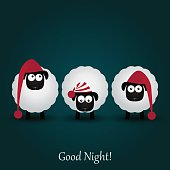 Three cute cartoon sheeps in funny hats. Good night.