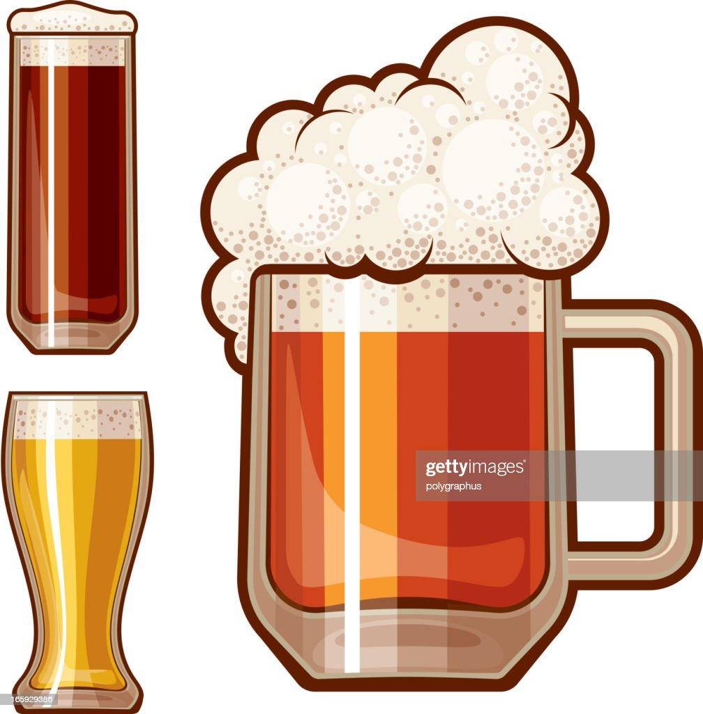 Three detailed beer illustration