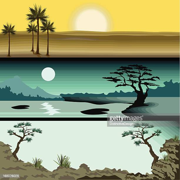 three detailed landscapes - climate stock illustrations, clip art, cartoons, & icons