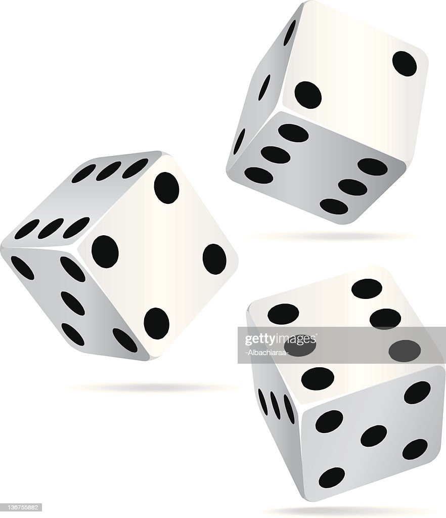 Three dice isolated on a white background