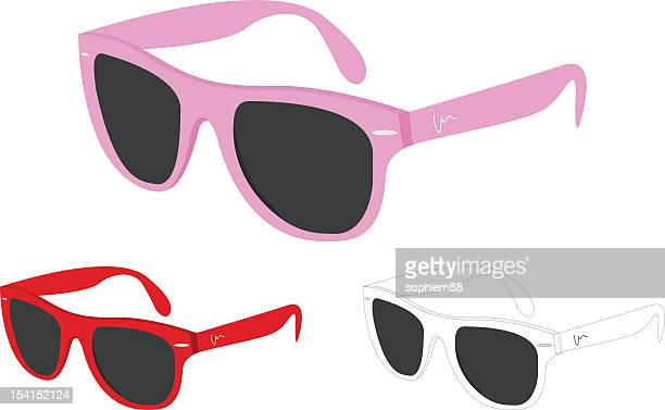 three different color sunglasses - sunglasses stock illustrations, clip art, cartoons, & icons