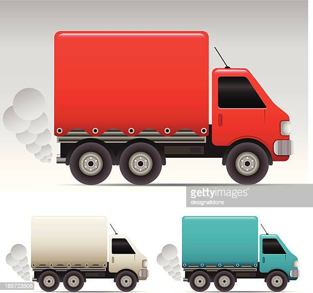three different colored delivery trucks on white background - lutin stock illustrations