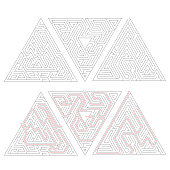 Three different complicated triangle labyrinths with red path of solution isolated on white.