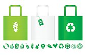 Three different recycle bags with row of recycle icons under