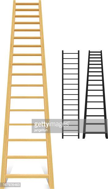 Three different size ladders, 2 black and 1 brown
