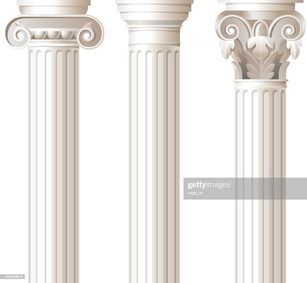 Three different style white columns