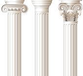 Three different style white columns