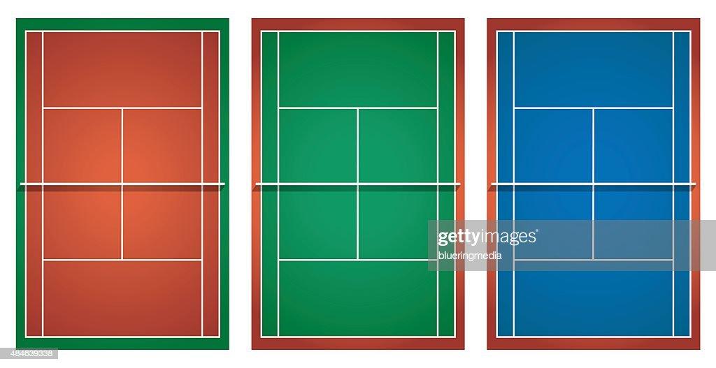 Three different tennis courts