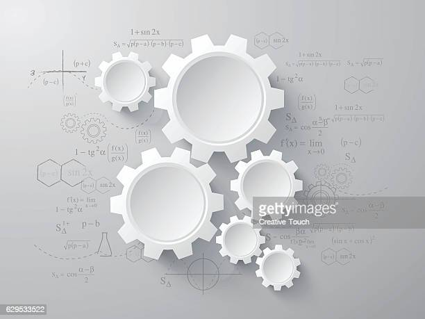 three dimensional gears - cog stock illustrations