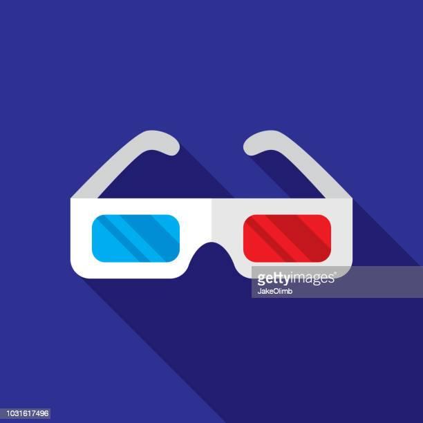 three dimensional glasses icon flat - eyeglasses stock illustrations