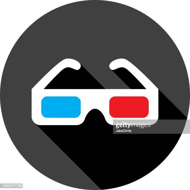 Three Dimensional Glasses Icon Silhouette