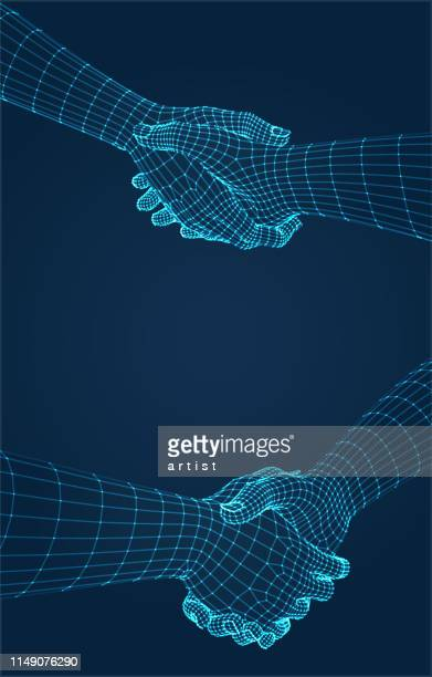 illustrations, cliparts, dessins animés et icônes de mains en trois dimensions. mettre. maille ware de l'application 3d. - poignée de main
