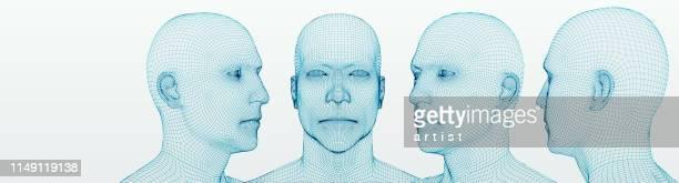 three dimensional heads. set. ware mesh from 3d app. - human head stock illustrations
