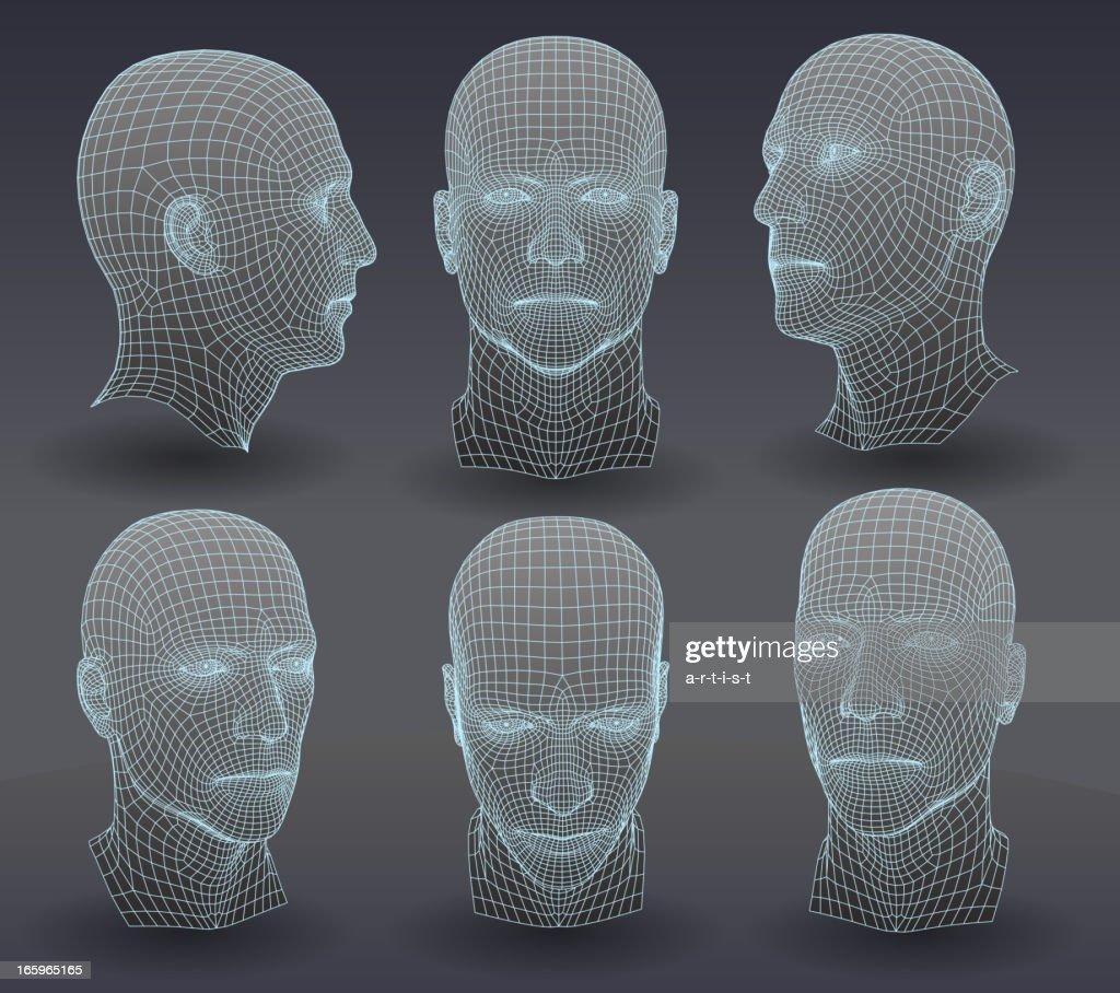 Three dimensional heads