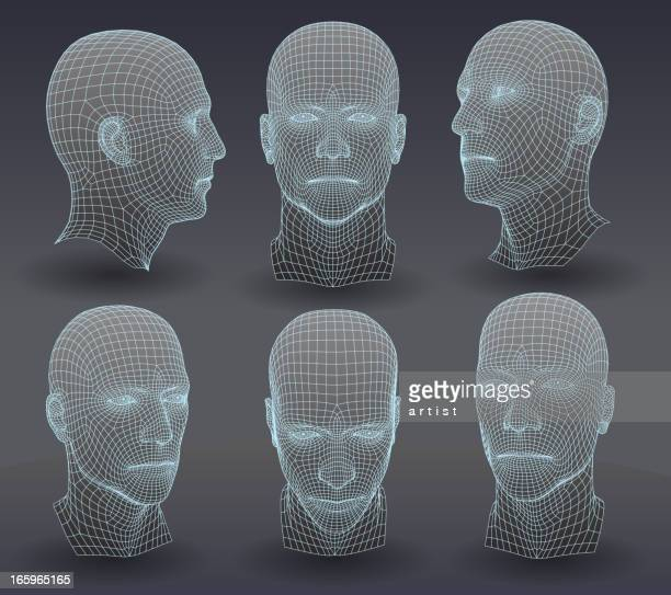 three dimensional heads - human nose stock illustrations
