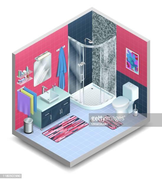 ilustraciones, imágenes clip art, dibujos animados e iconos de stock de baño isométrico tridimensional - ducha