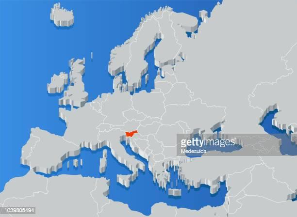 dreidimensionale karte land meer - slowenien stock-grafiken, -clipart, -cartoons und -symbole