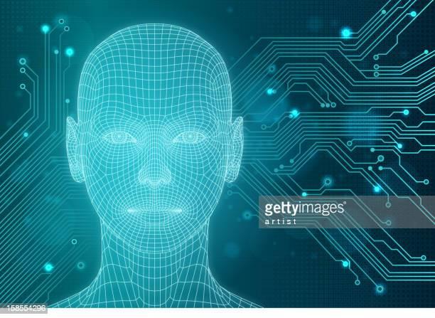 illustrations, cliparts, dessins animés et icônes de arrière-plan avec la technologie tri-dimensionnelle head - oreille humaine
