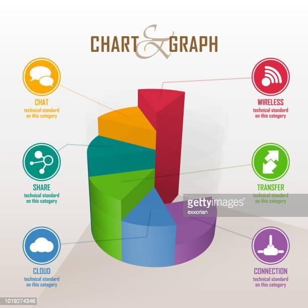 three dimensional pie chart infographic elements - finanzen und wirtschaft stock illustrations