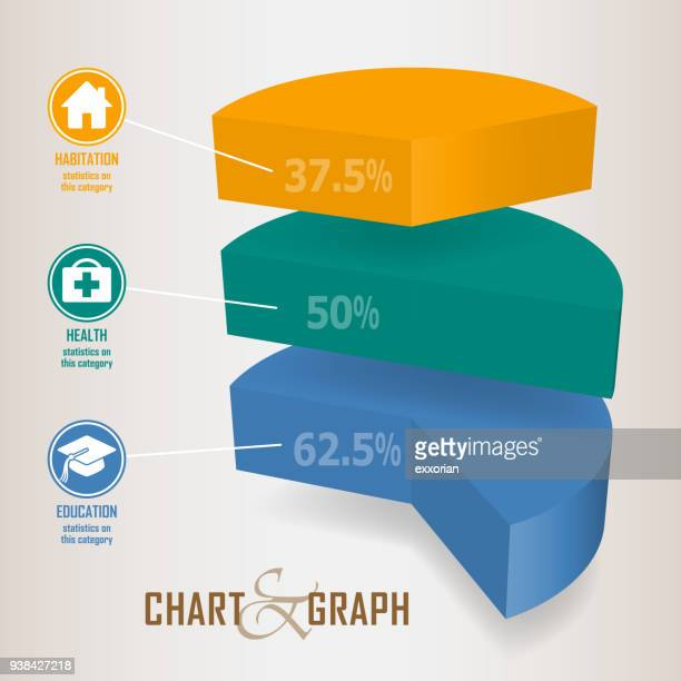 Three Dimensional Pie Chart Infographic Elements