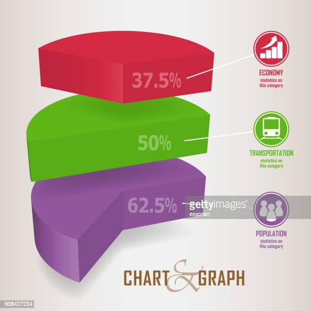 three dimensional pie chart infographic elements - labeling stock illustrations, clip art, cartoons, & icons