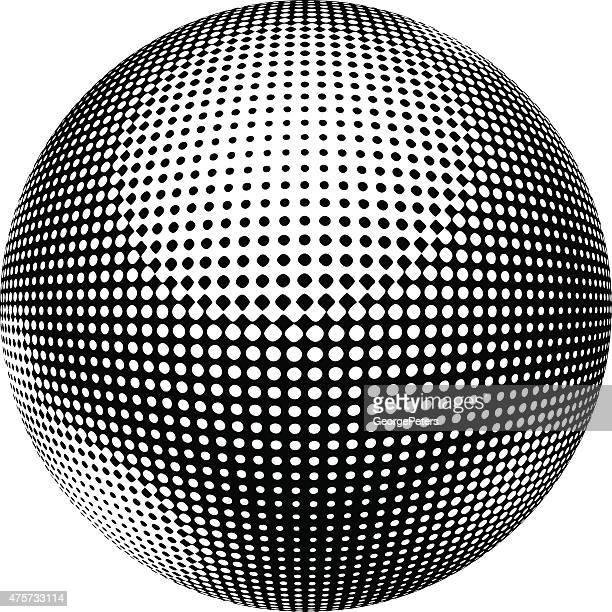 drei dimensionale kugel mit kariertem halbton-muster. - kugelform stock-grafiken, -clipart, -cartoons und -symbole