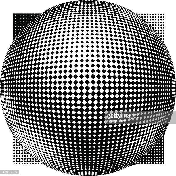3 次元球体、スクエアます。 ハーフトーンパターンます。 - モアレ縞点のイラスト素材/クリップアート素材/マンガ素材/アイコン素材
