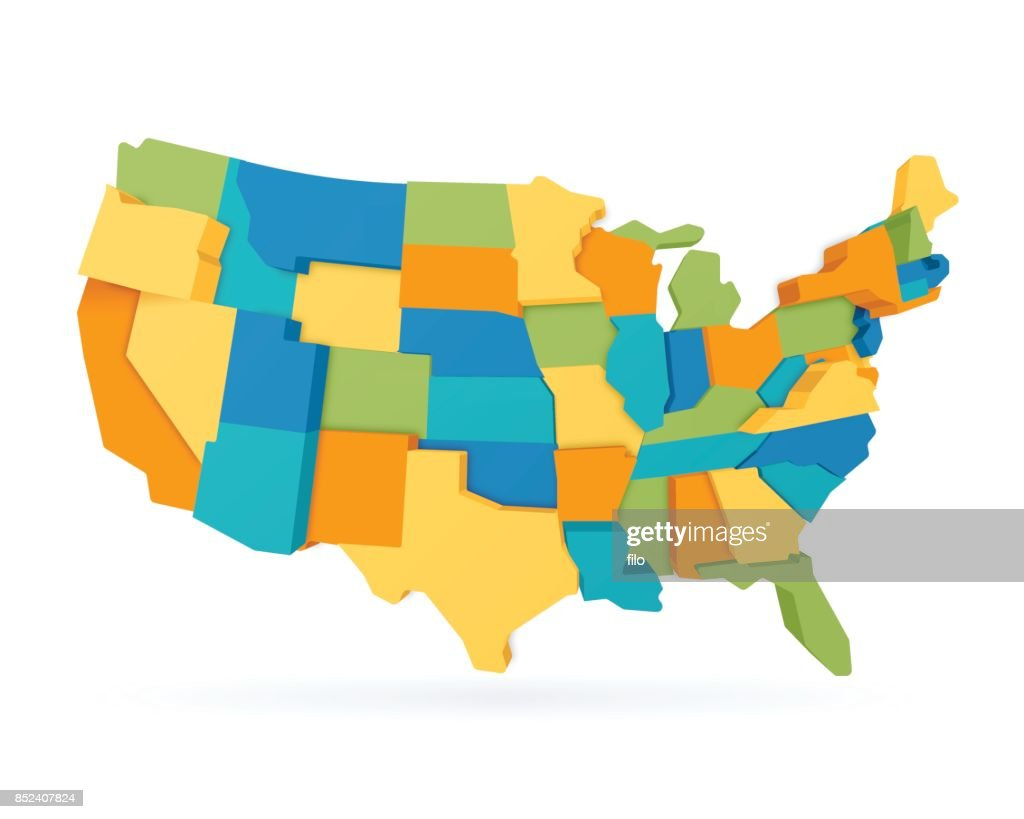 Three Dimensional United States Map : stock illustration
