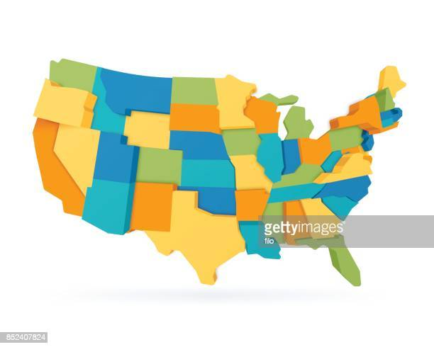 three dimensional united states map - werkzeug stock illustrations