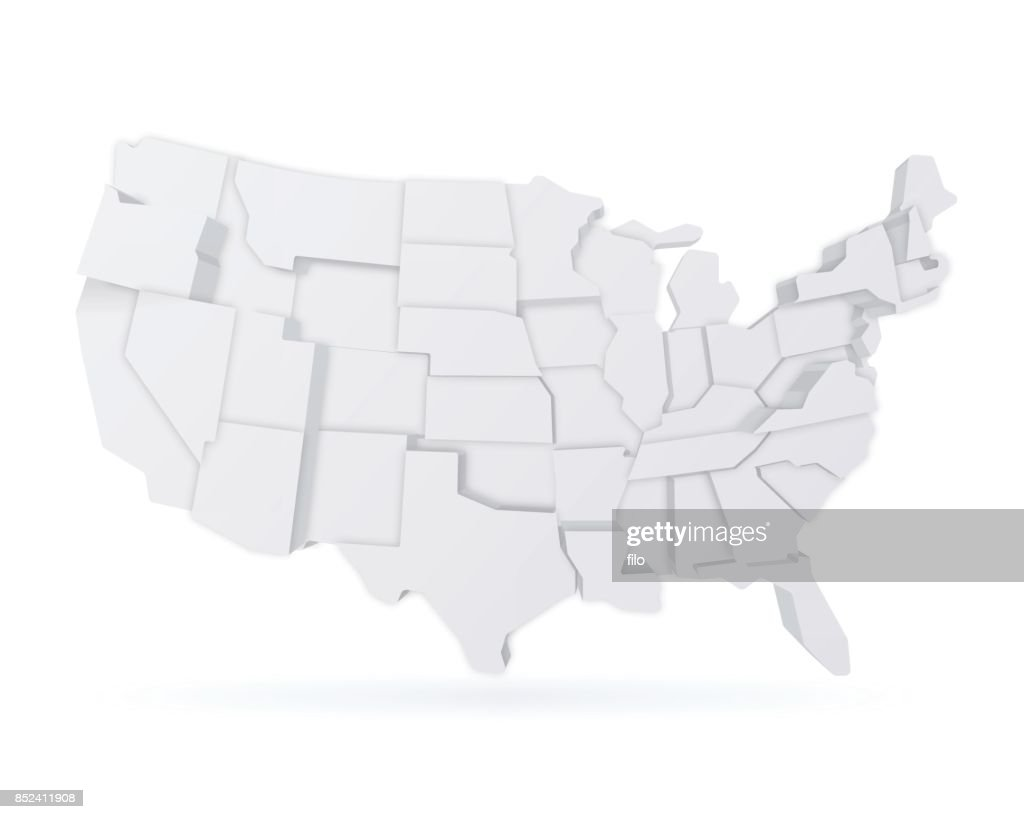 Three Dimensional United States Map Vector Art Getty Images - Us map 1908