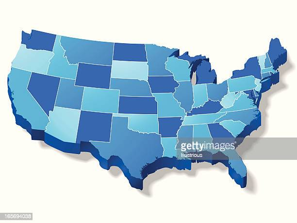 three dimensional usa map - usa stock illustrations