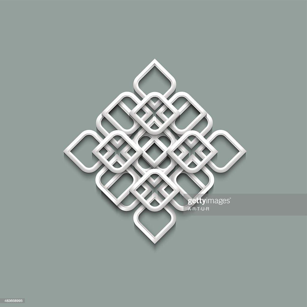 Three dimensional white ornament in arabic style