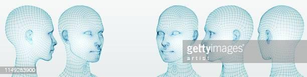 stockillustraties, clipart, cartoons en iconen met driedimensionale vrouwen hoofden. set. ware mesh van 3d app. - menselijk hoofd