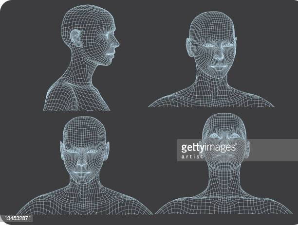 three dimensional woman heads - human nose stock illustrations