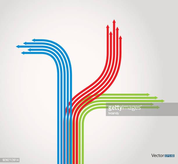drei richtungen pfeile - pfeilspitze stock-grafiken, -clipart, -cartoons und -symbole
