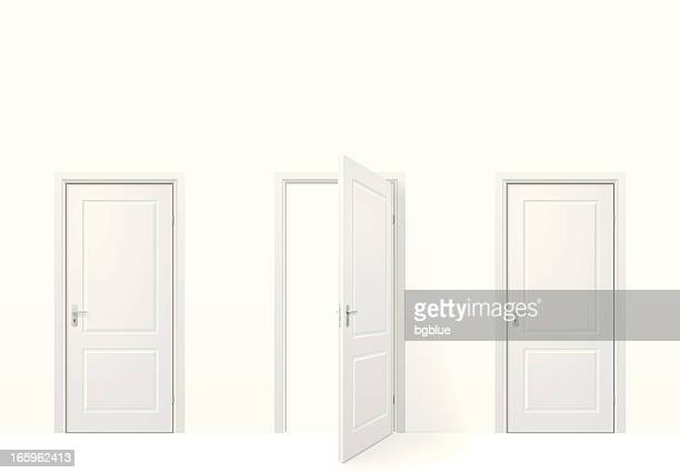 three doors - three objects stock illustrations
