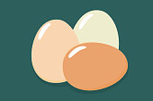 Three eggs brown and white eggs. Flat icon. Vector illustration