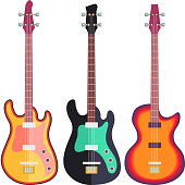Three Electro Guitars Flat Design isolated on white background. Vector