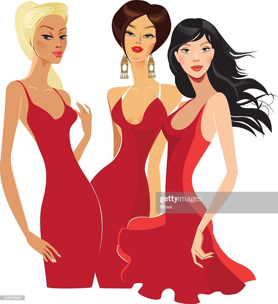 three elegant women in red dress
