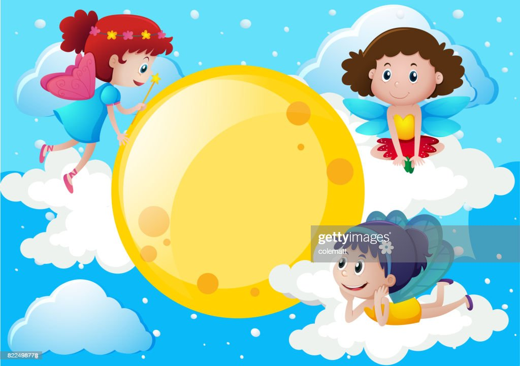 Three fairies flying around the moon