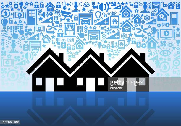 Three Family House on Home Automation and Security Vector Background