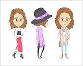 Three fashion cartoon girls