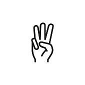 Three fingers up line icon