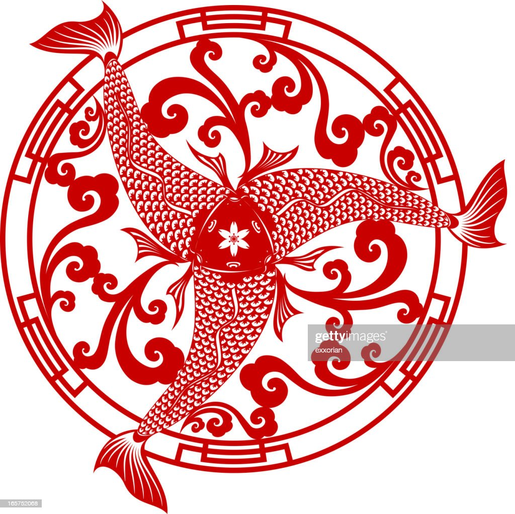 Three Fish With One Head Chinese Papercut Art Symbol Vector Art