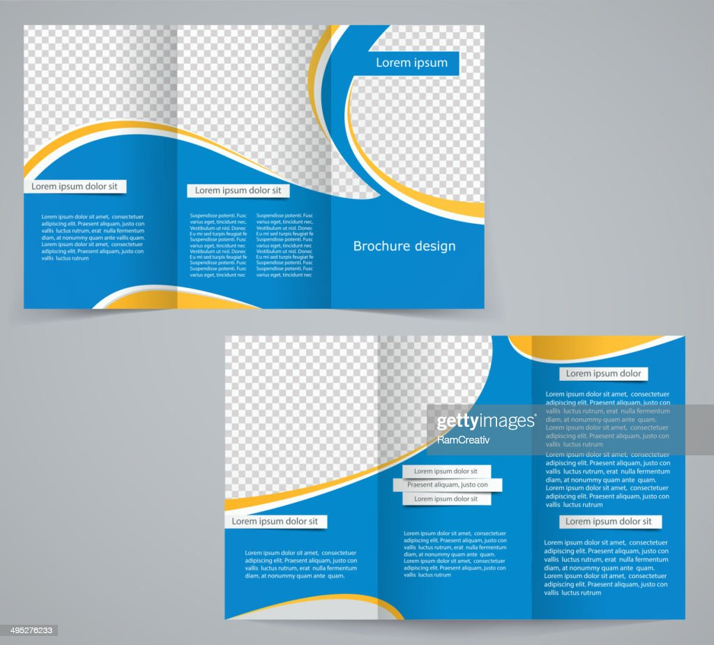 Three fold business brochure template, corporate flyer or cover design
