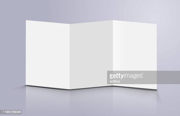 three fold standing brochure - folded stock illustrations
