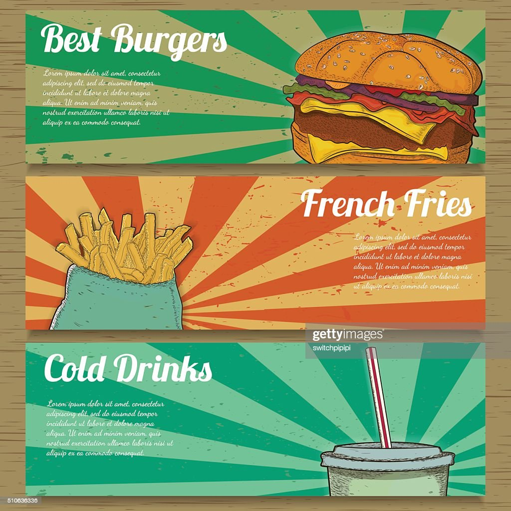 Three food banners for advertising.